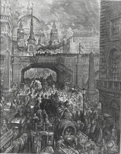 Gustave Dore, 'Ludgate Hill--A block in the street' (1872)